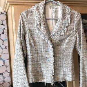 Tweed blazer blue/cream size medium